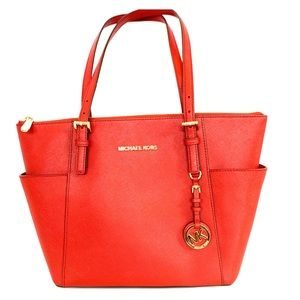 Michael Kors Top Zip Jet Set Tote Mandarin Red